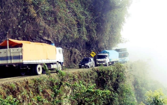 Traffic On The Road Of Death (Bolivia)