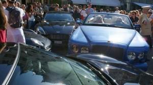 car crash with bentley azure, ferrari f430, aston martin rapide, porsche 911 turbo, mercedes s-class