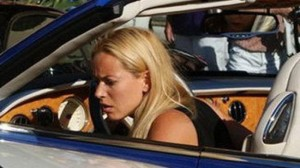 blonde woman crashed bentley into a pile of supercars