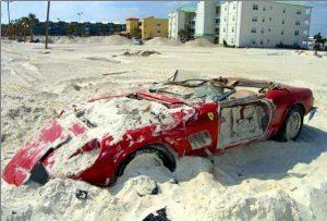 Ferrari 250 GT Spyder destroyed by a hurricane