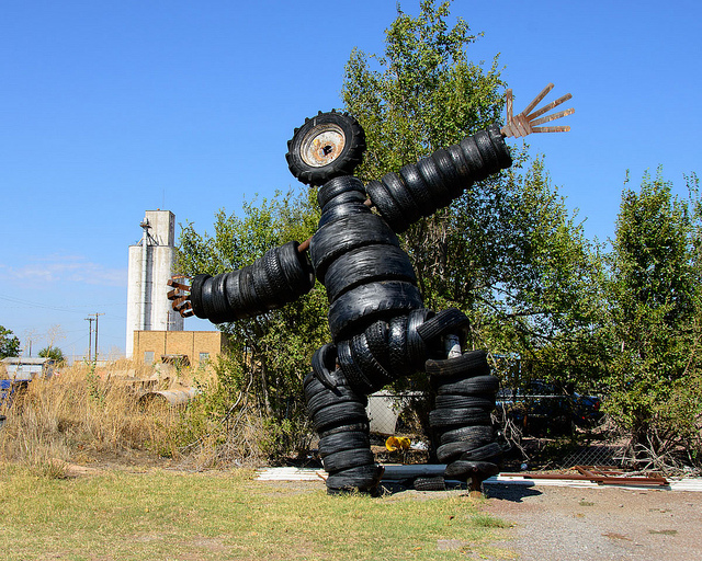 Sculpture Of A Man Made From Tires