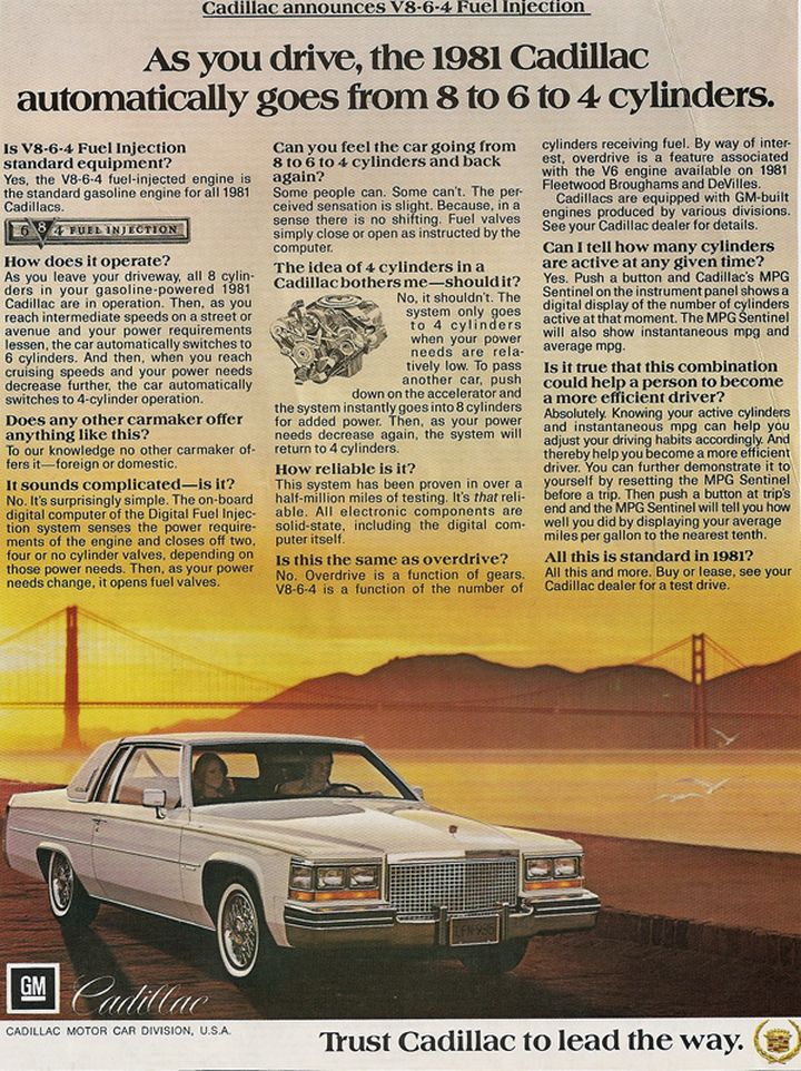 1981 Cadillac L62 V-8-6-4 Engine