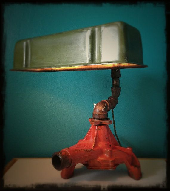 Upcycled Valve Cover Desk Lamp