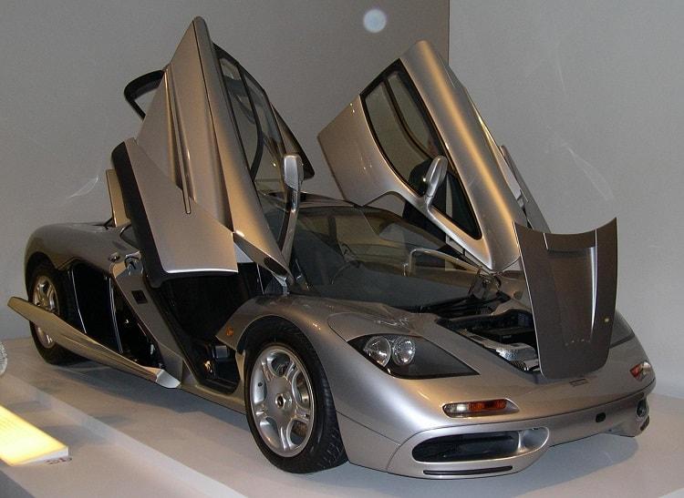 Silver McLaren F1 with doors open - '90s supercars