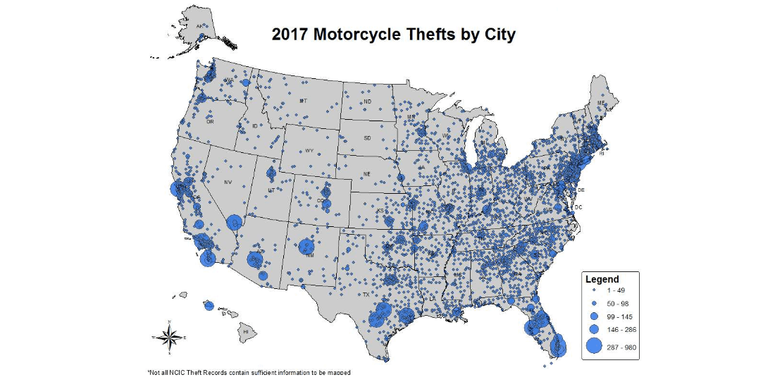 Motorcycle Theft By City