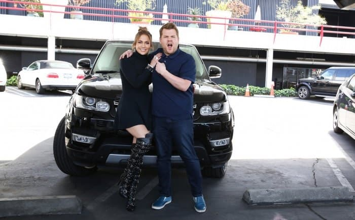 James Cordon and Jennifer Lopez With Range Rover