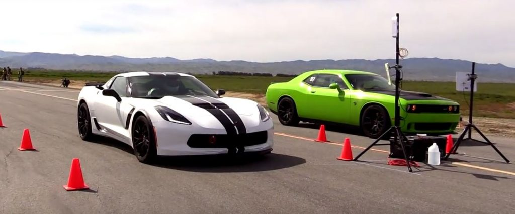 Dodge Challenger Hellcat Vs Chevrolet Corvette Z06 In A Half-Mile Battle