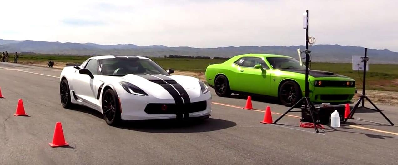 Dodge Challenger Hellcat Vs Chevrolet Corvette Z06 In A Half