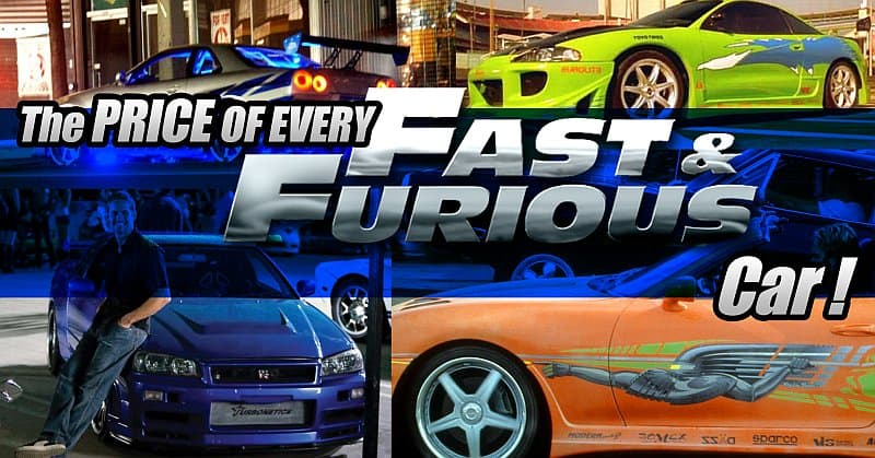 The Prices Of fast and furious cars!