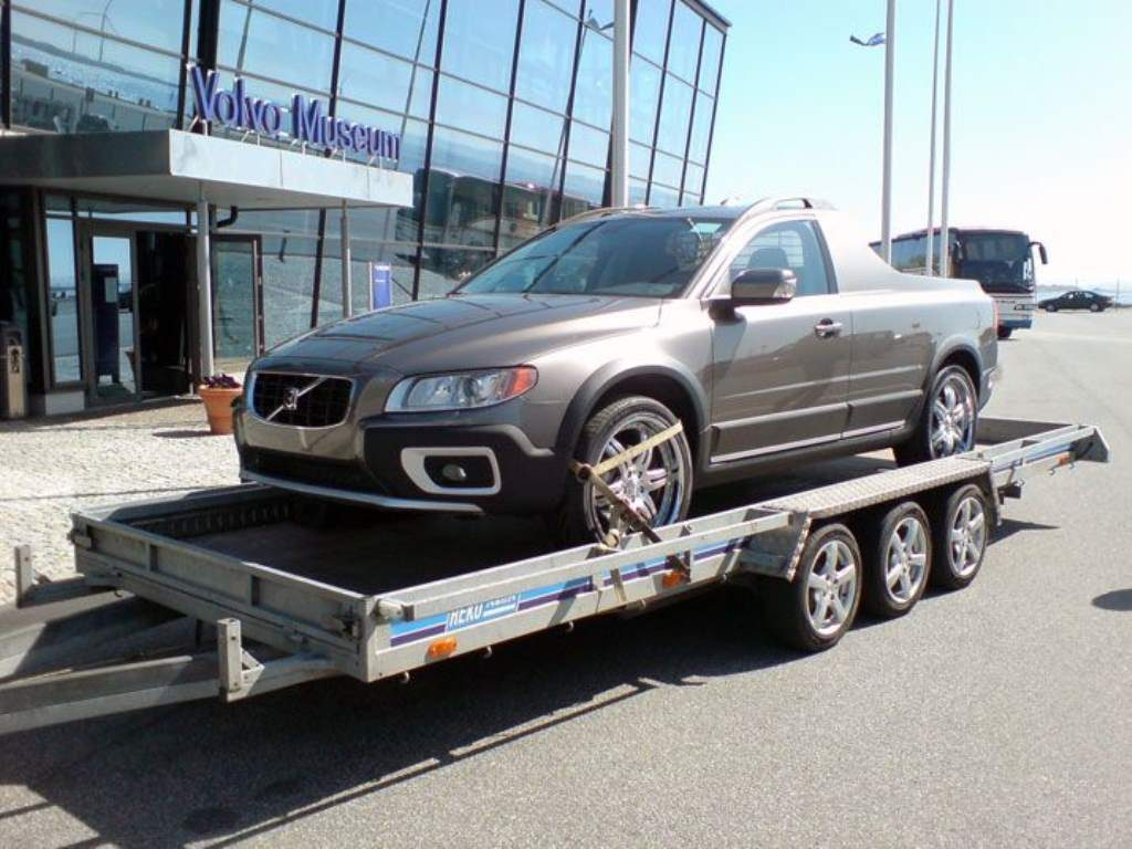 Volvo pickup truck on trailer