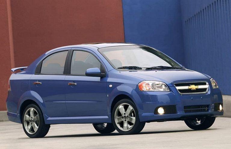 A blue Chevrolet Aveo