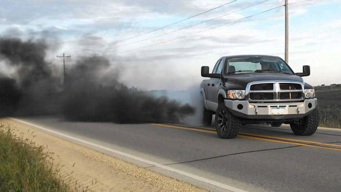 Dodge Cummins Truck Belching Smoke
