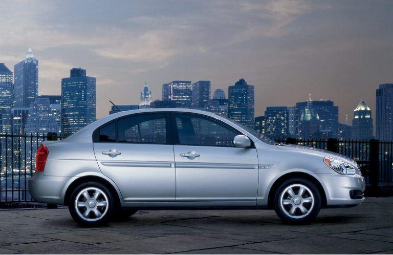 A silver Hyundai Accent