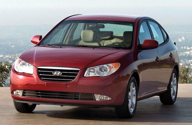 A red Hyundai Elantra