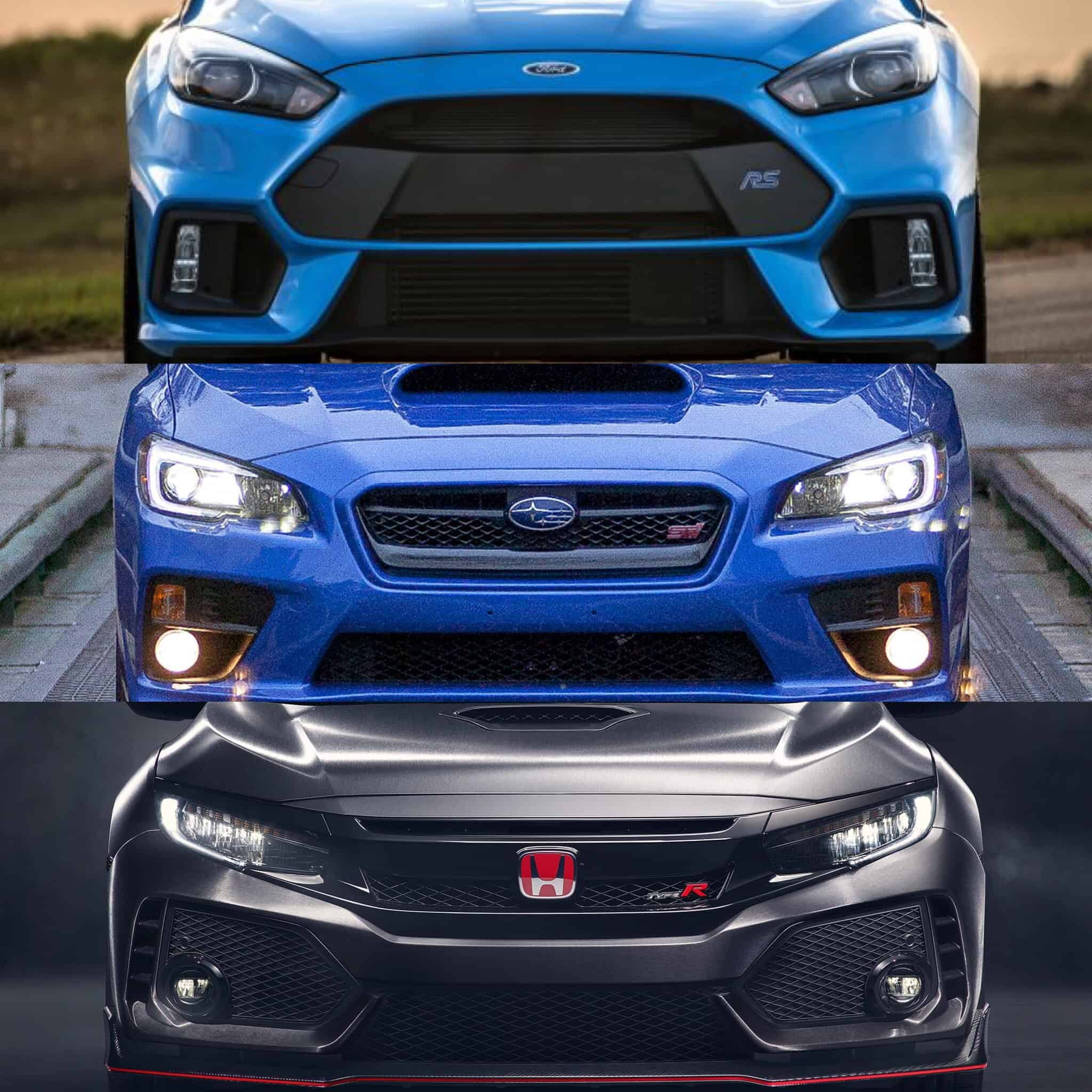 ford focus rs vs honda civic type r vs subaru wrx sti. Black Bedroom Furniture Sets. Home Design Ideas