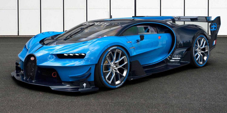 A blue Bugatti Chiron