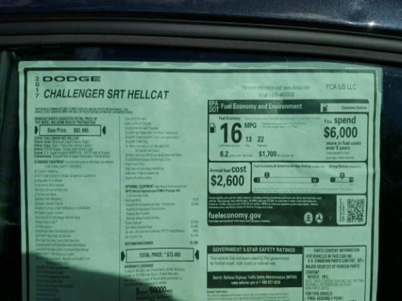 Challenger Hellcat hail damage window sticker