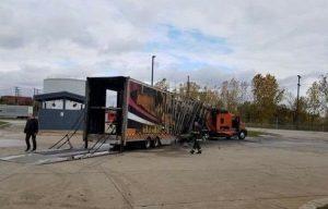 Truck Trailer Burned by Dodge Demon