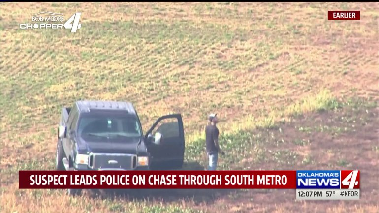 Suspect Standing in Field During OKC Police Pursuit