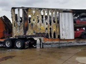 Dodge Demon Fire Burns Truck Trailer