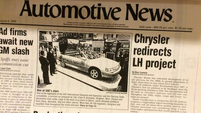 Mercury Sable Convertible Concept Newspaper