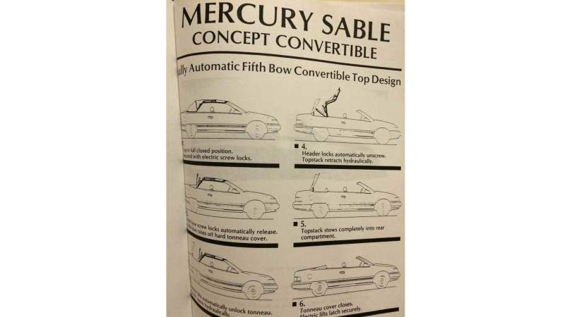 Mercury Sable Convertible Concept Paperwork