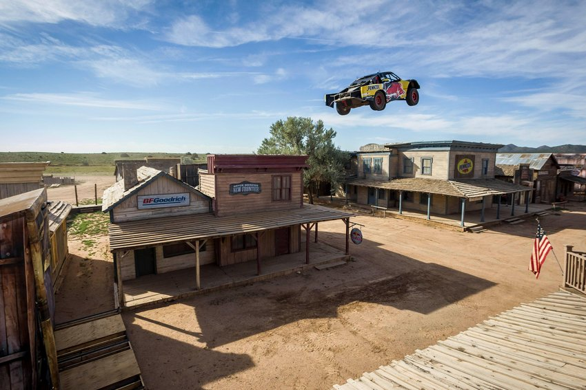 Bryce Menzies flying trophy truck in midair.