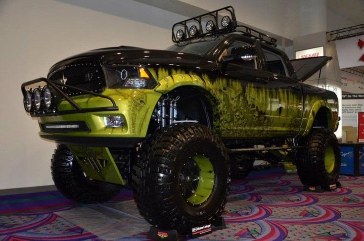 Dodge trucks are solid bases for jacked up trucks of kinds.