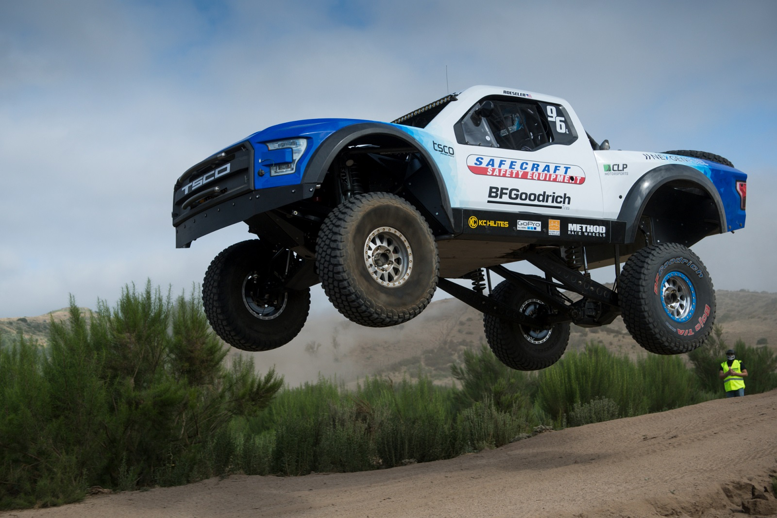 Larry Roeseler holds a trophy truck Big Air record.