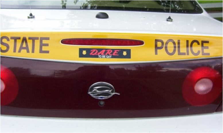 Best bumper sticker 2 d a r e to be gay sticker get picked up by some asshole police officer if you know where he resides go stealth mode at night