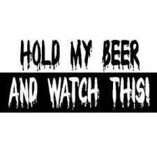 hold my beer watch this bumper sticker