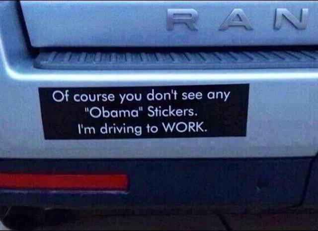 No obama stickers because i work