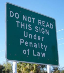 funny do not read sign