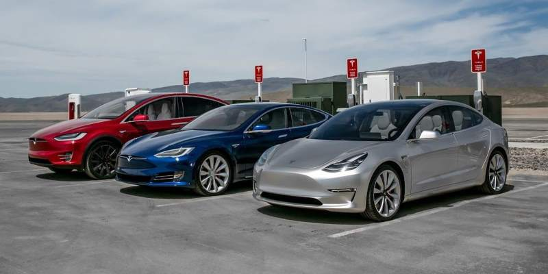 Tesla Models S, 3, and X Lineup