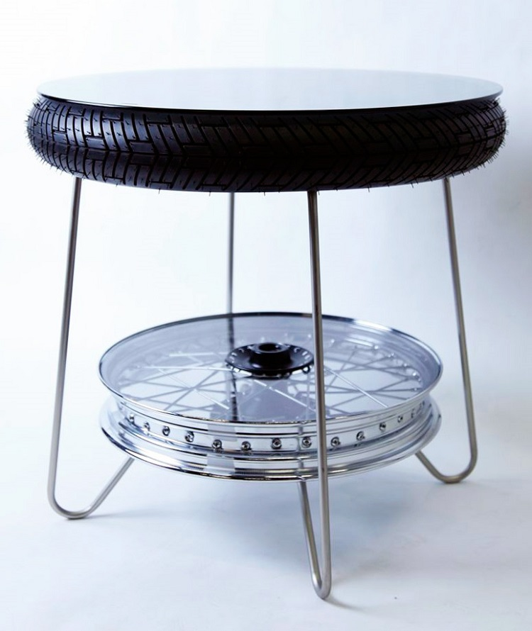 Motorcycle Salvage - Motorcycle Wheel Coffee Table