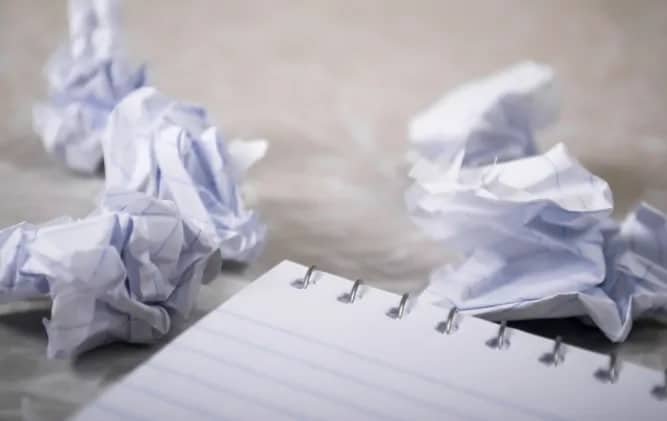 Crumpled Paper and Notepad