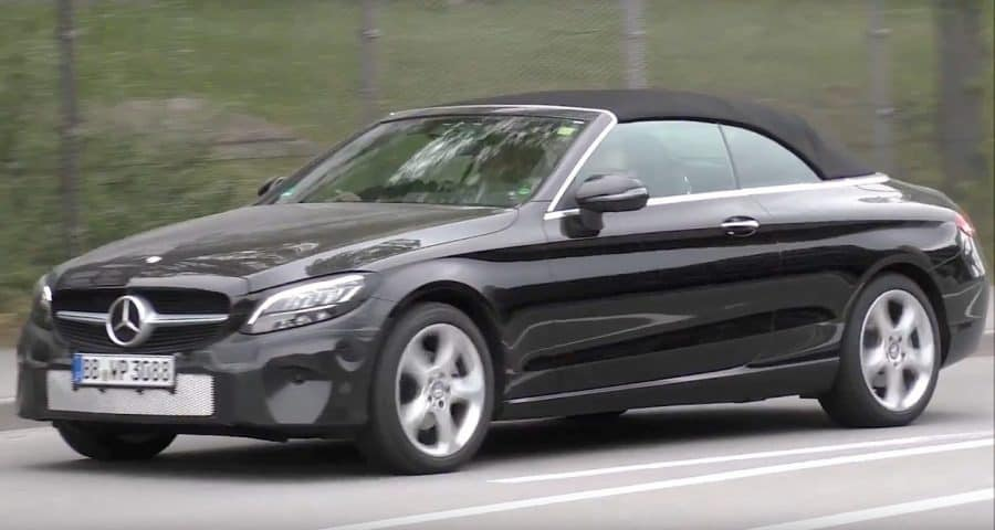 2019 Mercedes-Benz C Class convertible test mule 3/4 view