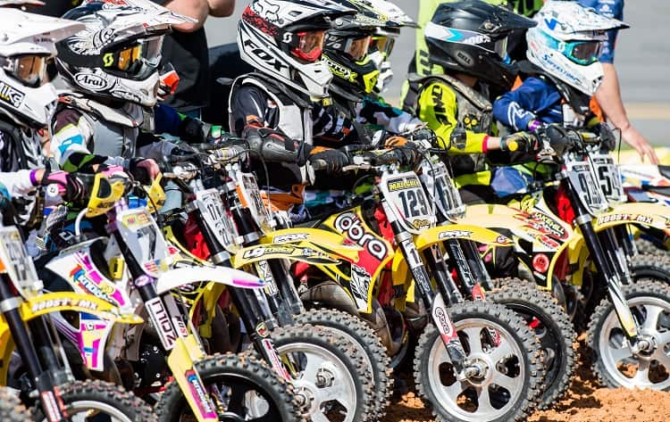 Bikes lined up for racing