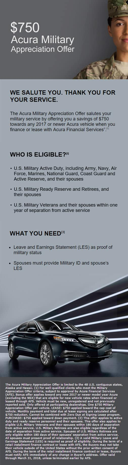 Acura Financial Services Military Incentives