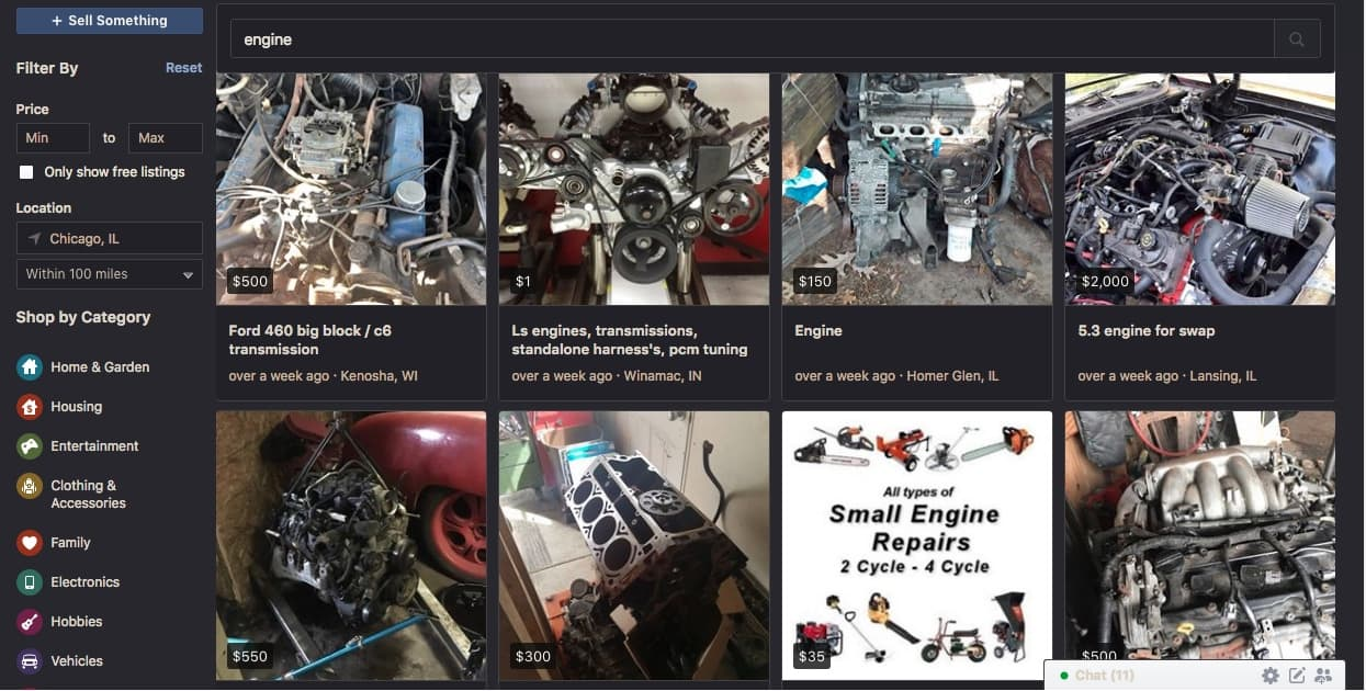 facebook marketplace has plenty of cheap used engines for sale