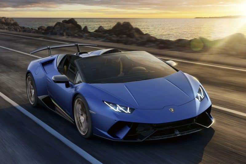 2019 Lamborghini Huracán 640-4 Performante Spyder 3/4 view