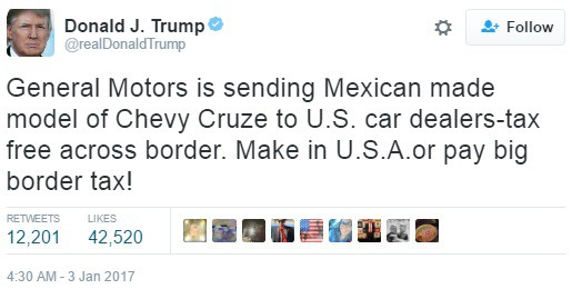 Trump on GM Twitter