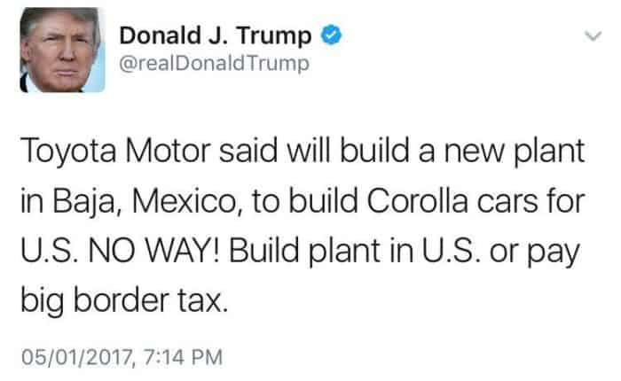 Trump on Toyota Twitter