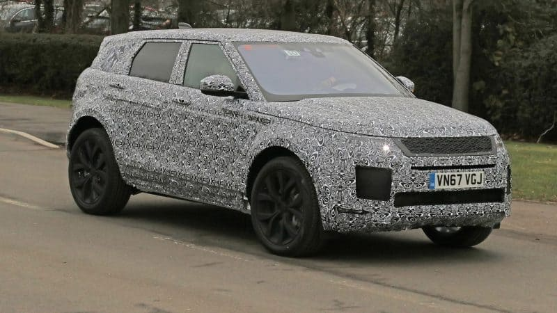 2019 or 2020 Land Rover Range Rover Evoque test mule front 3/4 view