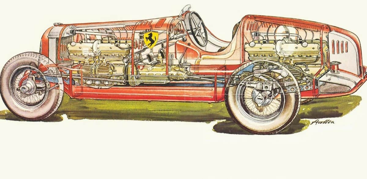 1935 Alfa Romeo Bimotore - cutaway view
