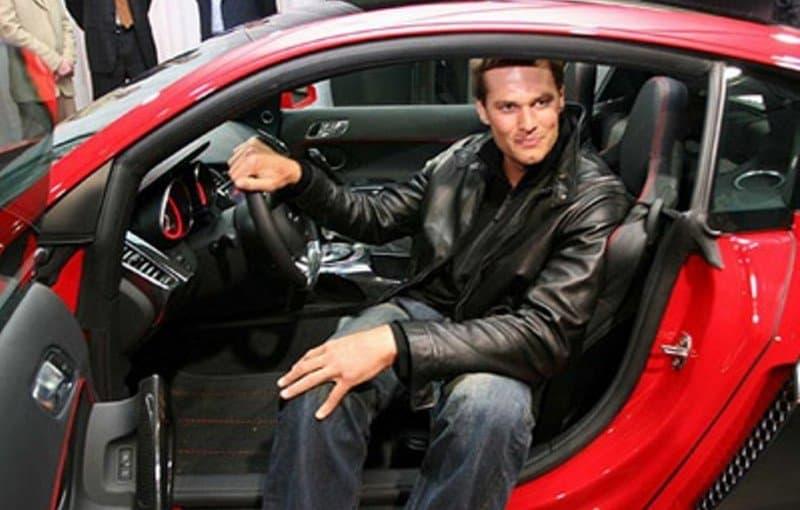 2009 Audi R8 - Tom Brady sitting in car