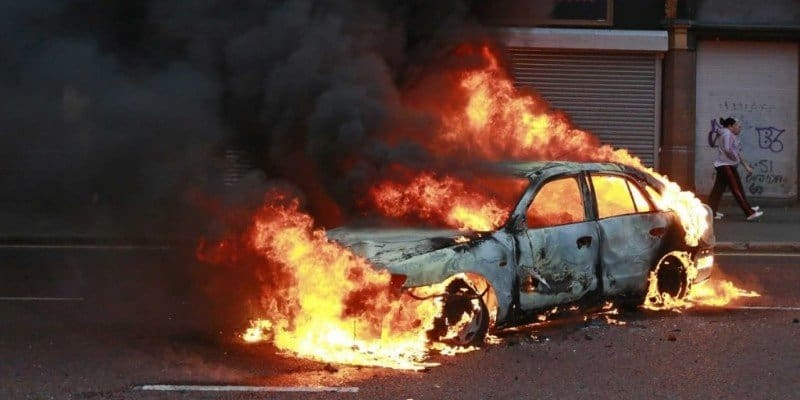 Electric Car Catches on Fire