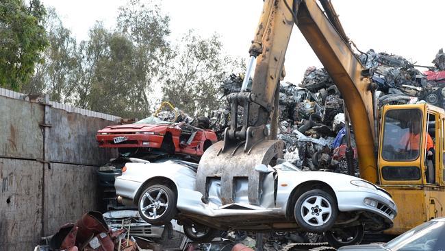 A Car Getting Scrapped