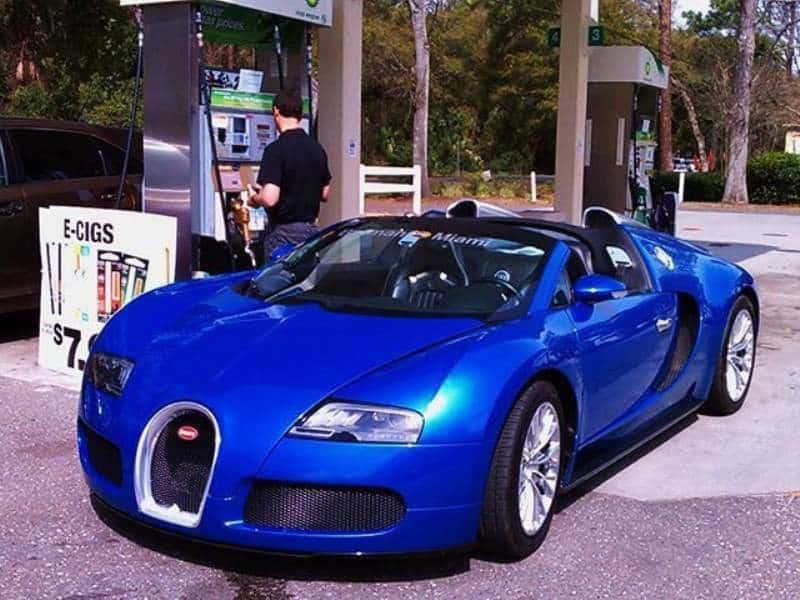 Bugatti At Filling Station