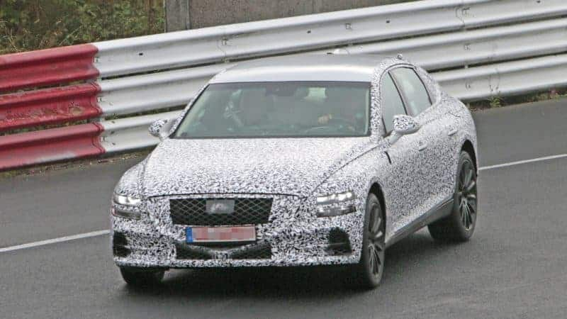 Genesis G80 test mule frontal view